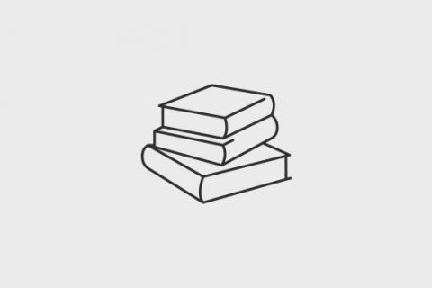 Logotyp biblioteki. Trzy książki jedna na drugiej.