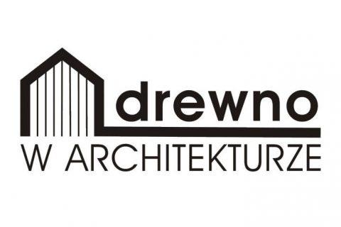 Na białym tle logo z napisem Drewno w Architekturze