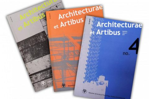 Na białym tle leżą 3 numery czasopisma naukowego Wydziału Architektury