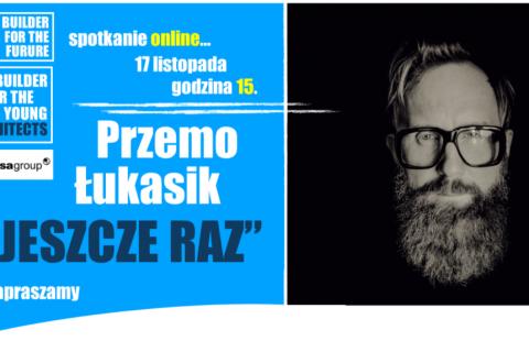Baner przedstawiający twarz projektanta Przema Łukasika