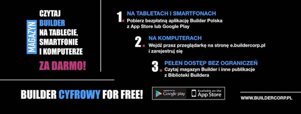 Baner promujący darmowe cyfrowe czasopismo Builder