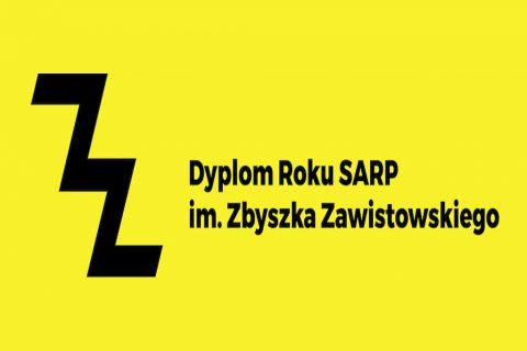 Napis, baner na żółtym tle. Dyplom roku SARP