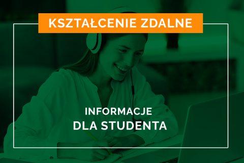 Zielony baner z napisem Kształcenie zdalne, poniżej Informacje dla studenta