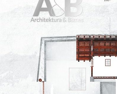 """Plakat miesięcznika """"Architektura & Biznes"""" Marzec 2021. Wkomponowany rzut architektoniczny."""