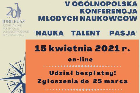 Plakat konferencyjny. Napis Konferencja Młodych Naukowców