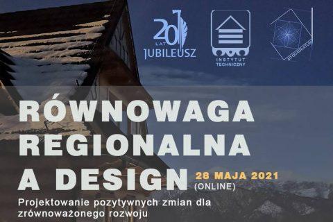"""Baner konferencji """"Równowaga regionalna a design. Projektowanie pozytywnych zmian dla rozwoju zrównoważonego"""""""