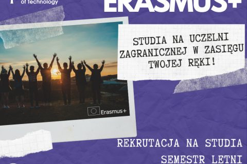 Plakat rekrutacyjny Erasmus+. Napis Studia zagraniczne w zasięgu twojej ręki!